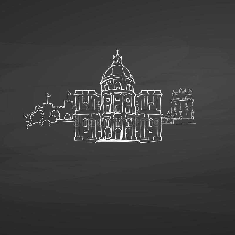 Σημάδια της Λισσαβώνας Πορτογαλία στον πίνακα απεικόνιση αποθεμάτων