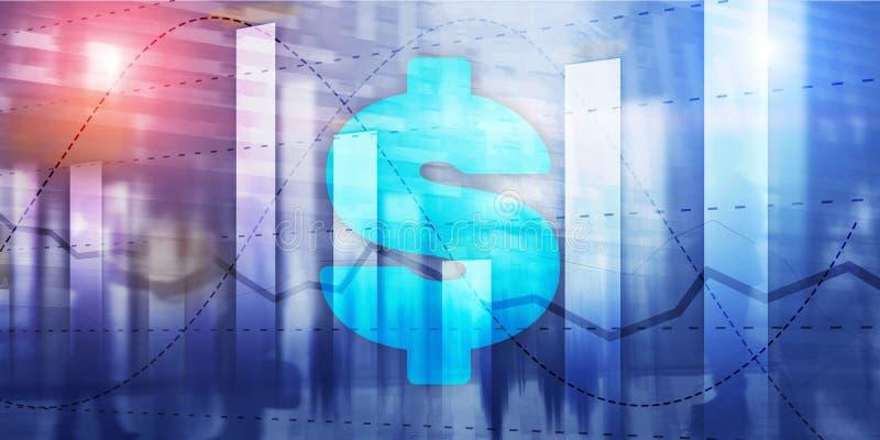 Σημάδι Ñharts και δολαρίων, ψηφιακή τεχνολογία Οικονομικό επιχειρησιακό υπόβαθρο στοκ φωτογραφία με δικαίωμα ελεύθερης χρήσης