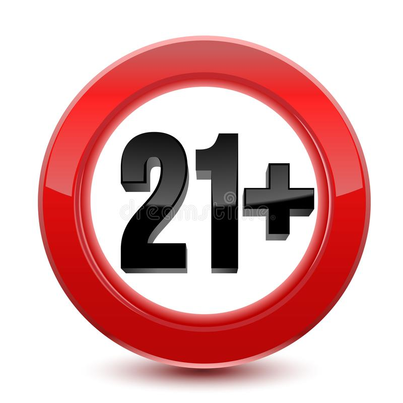 Σημάδι ή εικονίδιο ορίου ηλικίας στο κόκκινο 21 συν τα έτη Διάνυσμα που απομονώνεται στην άσπρη ανασκόπηση ελεύθερη απεικόνιση δικαιώματος
