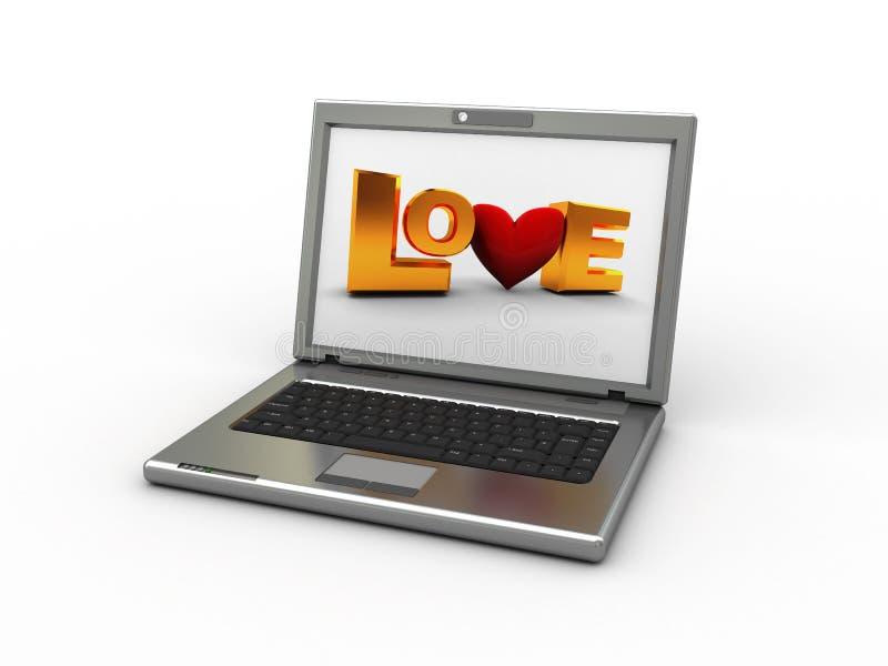 σημάδι αγάπης lap-top διανυσματική απεικόνιση