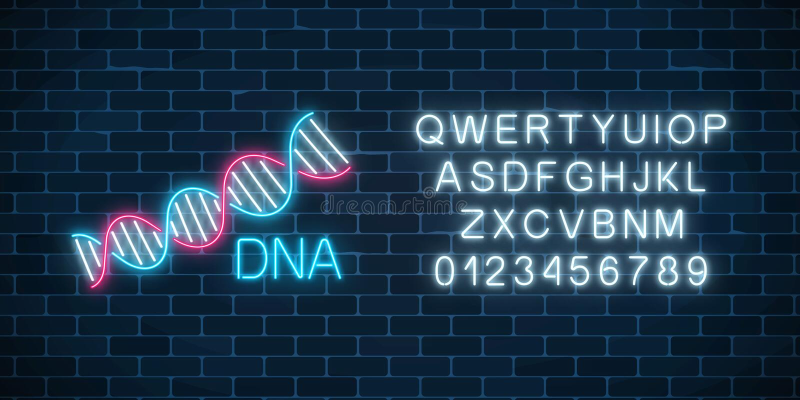 Σημάδι ακολουθίας DNA στο ύφος νέου με το αλφάβητο Καμμένος σύμβολο δομών μορίων DNA διανυσματική απεικόνιση