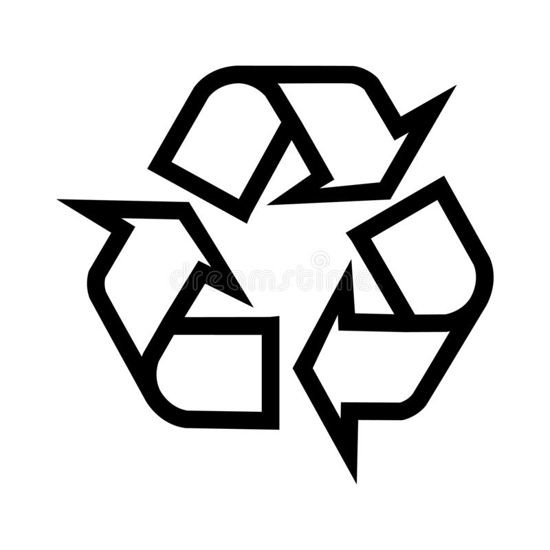 Σημάδι ανακύκλωσης που απομονώνει στο άσπρο υπόβαθρο για τις διαφορετικές ανάγκες διανυσματική απεικόνιση