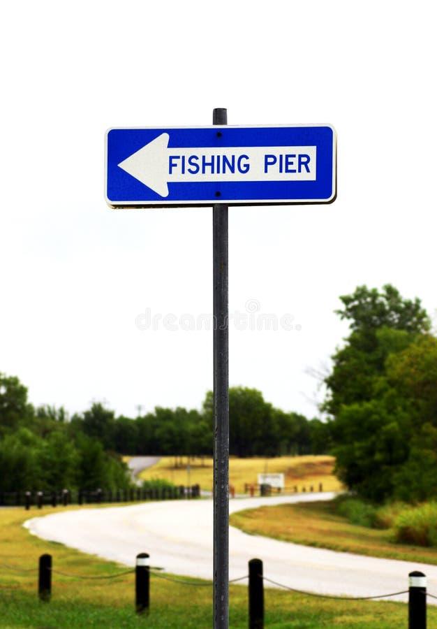 σημάδι αποβαθρών αλιείας στοκ φωτογραφία