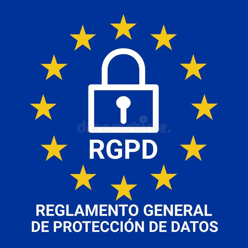 Σημάδι αποκαλούμενο απεικόνιση RGPD GDPR στην ισπανική γλώσσα διανυσματική απεικόνιση