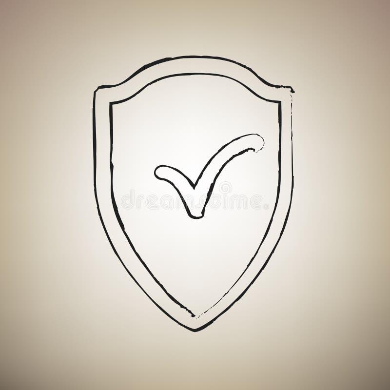 Σημάδι ασπίδων ως προστασία και ασφαλιστικό σύμβολο διάνυσμα Ο Δρ βουρτσών διανυσματική απεικόνιση