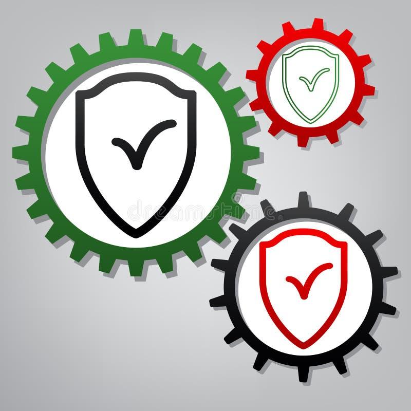Σημάδι ασπίδων ως προστασία και ασφαλιστικό σύμβολο διάνυσμα Τρία ομο απεικόνιση αποθεμάτων