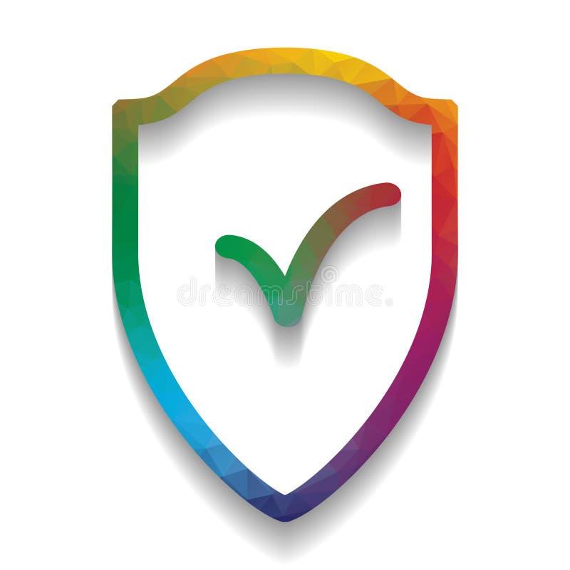 Σημάδι ασπίδων ως προστασία και ασφαλιστικό σύμβολο διάνυσμα ζωηρόχρωμος απεικόνιση αποθεμάτων