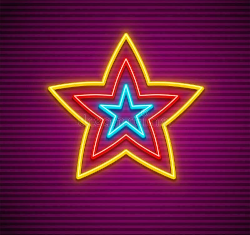 Σημάδι αστεριών νέου απεικόνιση αποθεμάτων