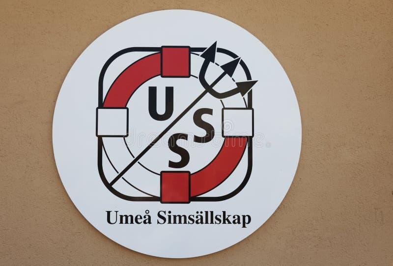 Σημάδι για την κολυμπώντας επιχείρηση Umea στο κέντρο Ersboda στοκ εικόνες