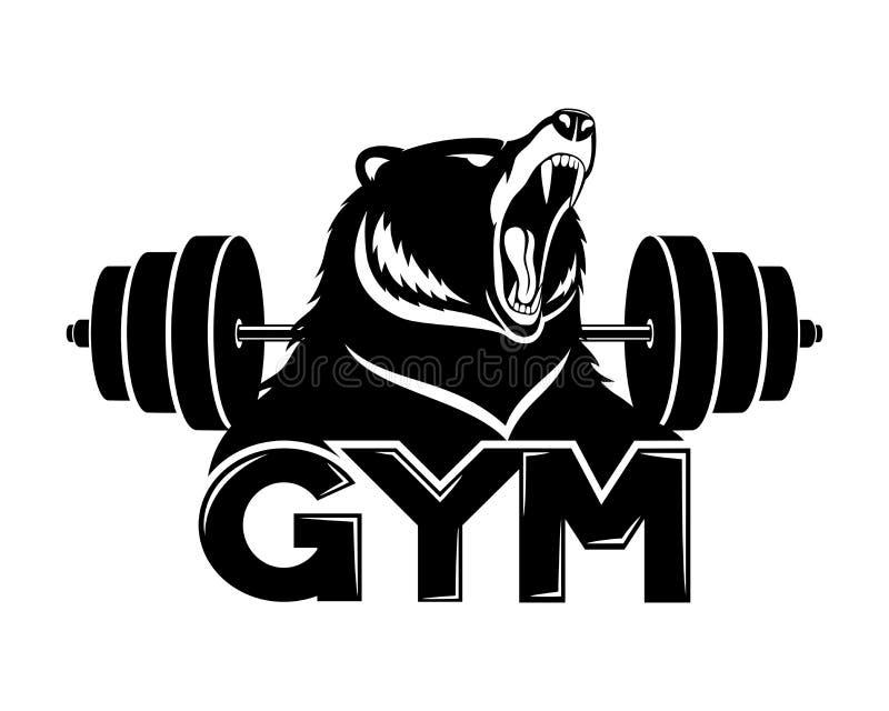 Σημάδι γυμναστικής με την αρκούδα και barbell απεικόνιση αποθεμάτων