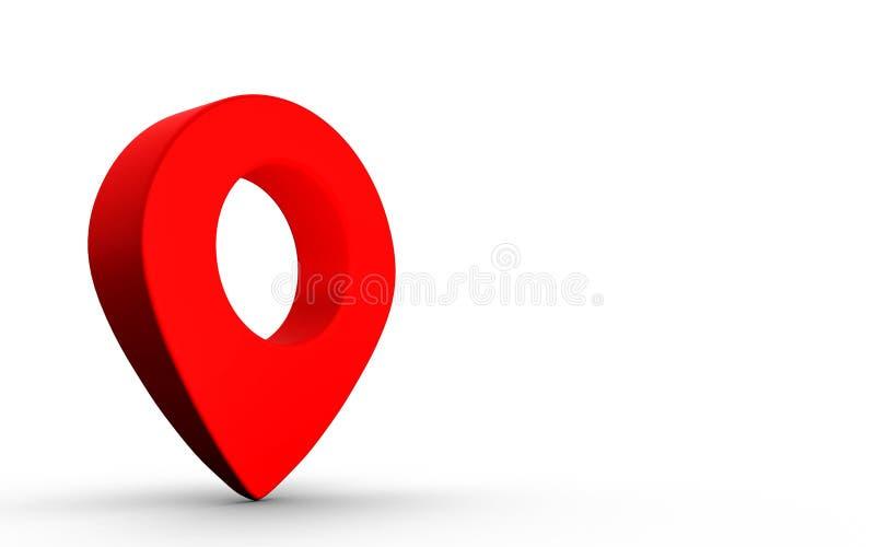 Σημάδι δεικτών χαρτών στο κόκκινο χρώμα που απομονώνεται στο άσπρο υπόβαθρο διανυσματική απεικόνιση