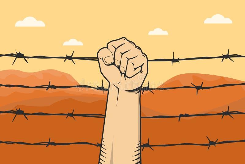Σημάδι διαμαρτυρίας με την πυγμή χεριών και οδοντωτός - το καλώδιο ως υπόβαθρο και το βουνό εγκαταλείπουν απεικόνιση αποθεμάτων