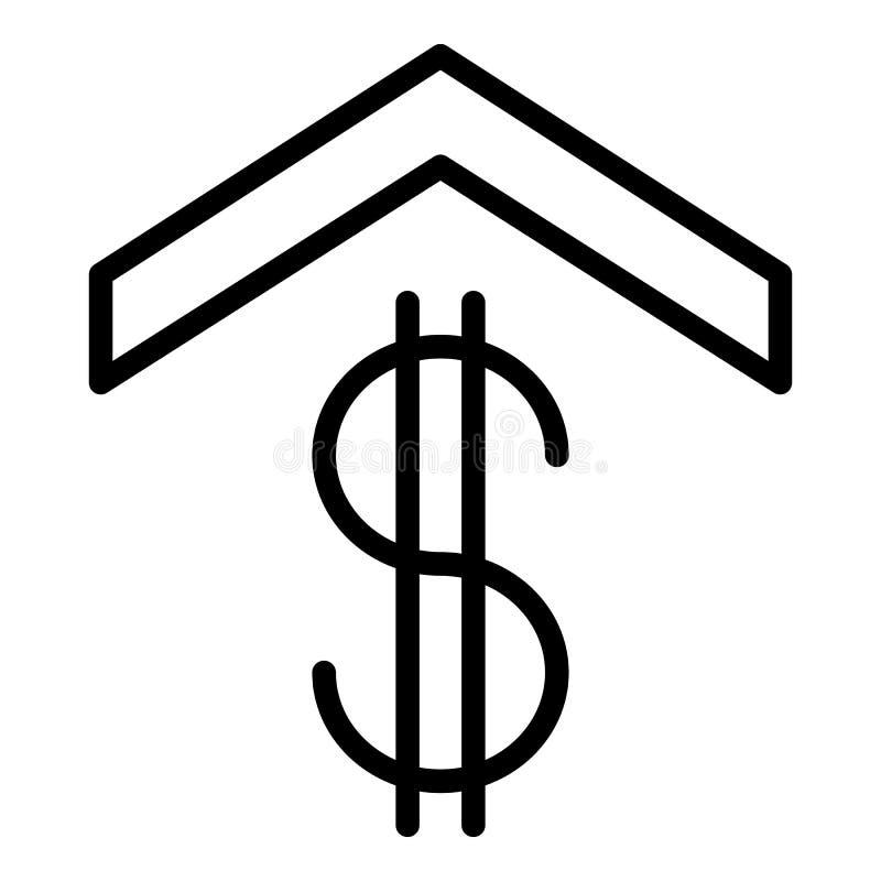 Σημάδι δολαρίων κάτω από το εικονίδιο στεγών, ύφος περιλήψεων απεικόνιση αποθεμάτων