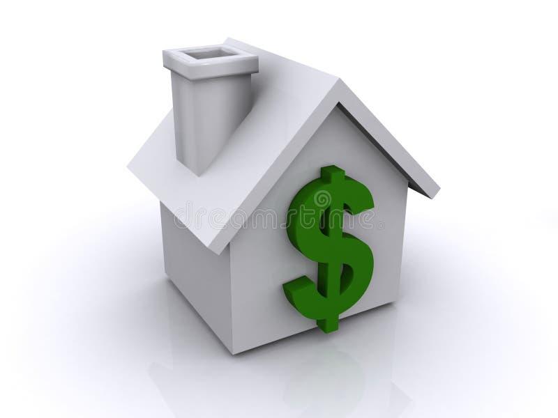 Σημάδι δολαρίων στο σπίτι ή το σπίτι ελεύθερη απεικόνιση δικαιώματος