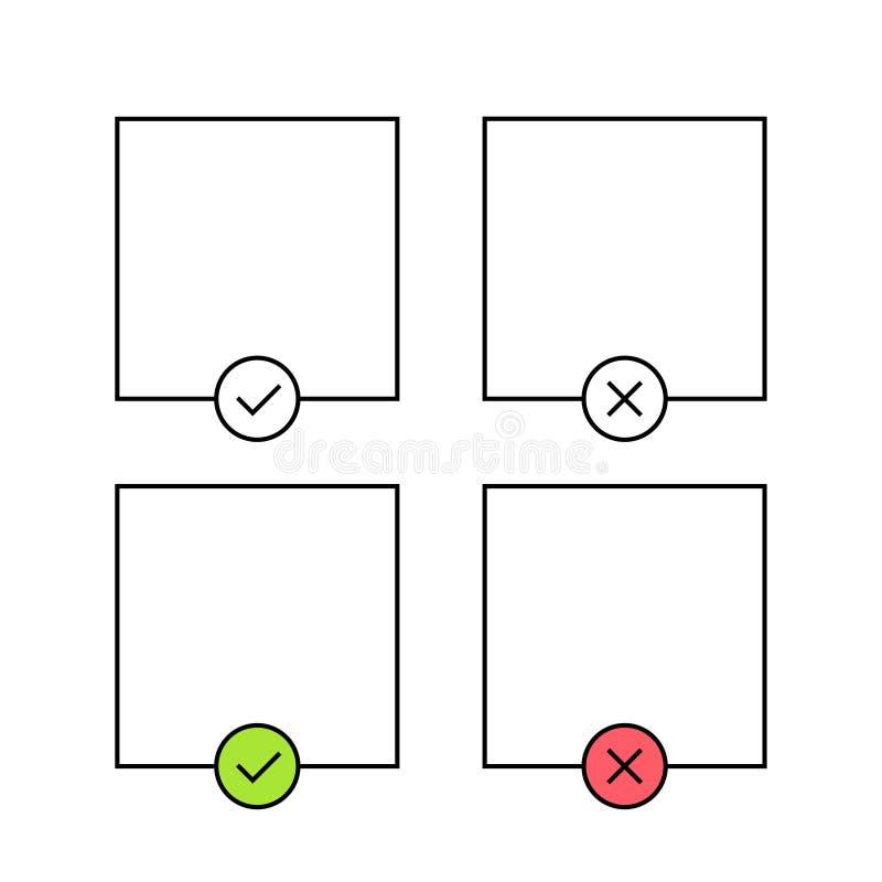 Σημάδι ελέγχου και διαγώνιο πρότυπο Πράσινος και κόκκινος Ναι ή όχι δεχτείτε και μειωθείτε Cheklist, εγκεκριμένο r απεικόνιση αποθεμάτων
