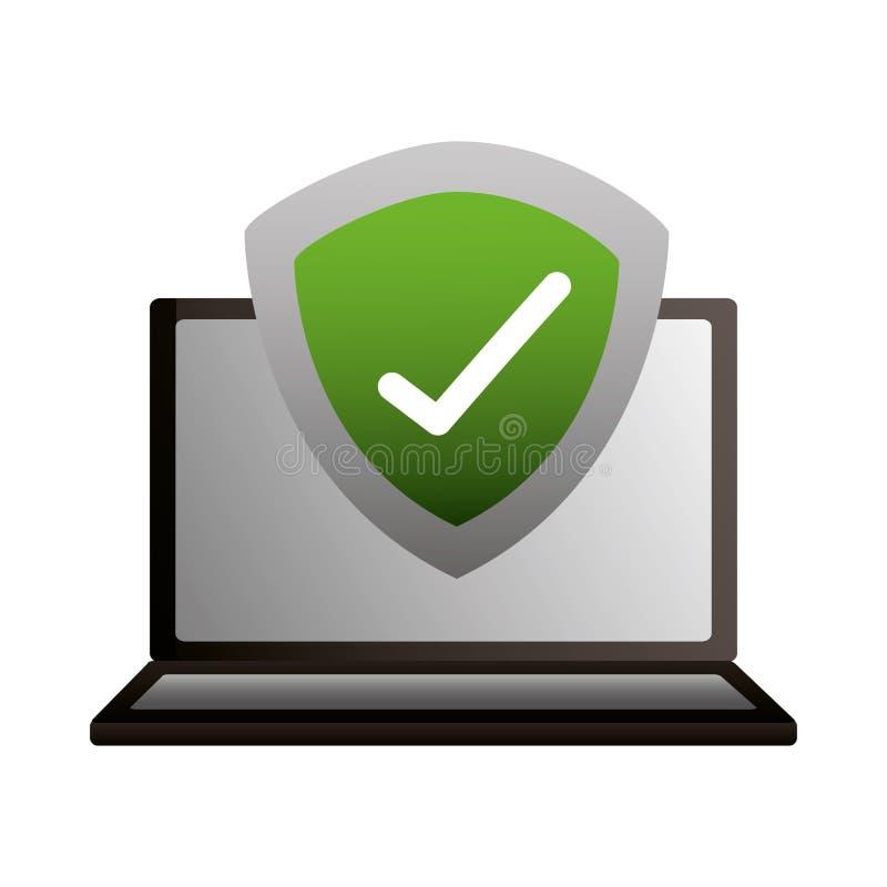 Σημάδι ελέγχου προστασίας ασπίδων lap-top απεικόνιση αποθεμάτων