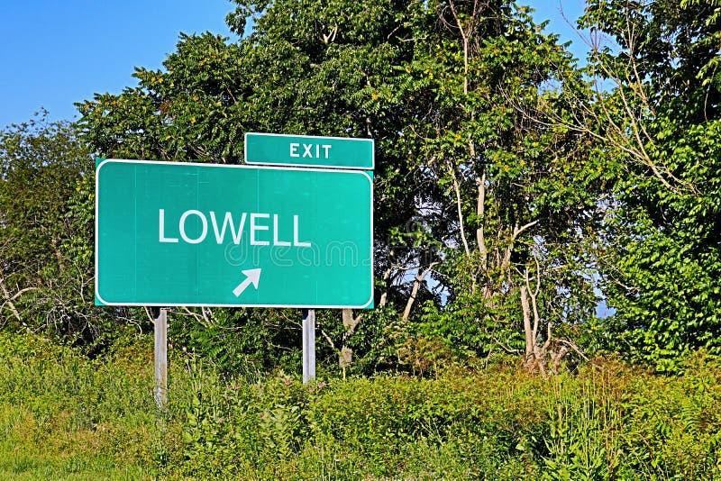 Σημάδι εξόδων αμερικανικών εθνικών οδών για το Lowell στοκ φωτογραφία