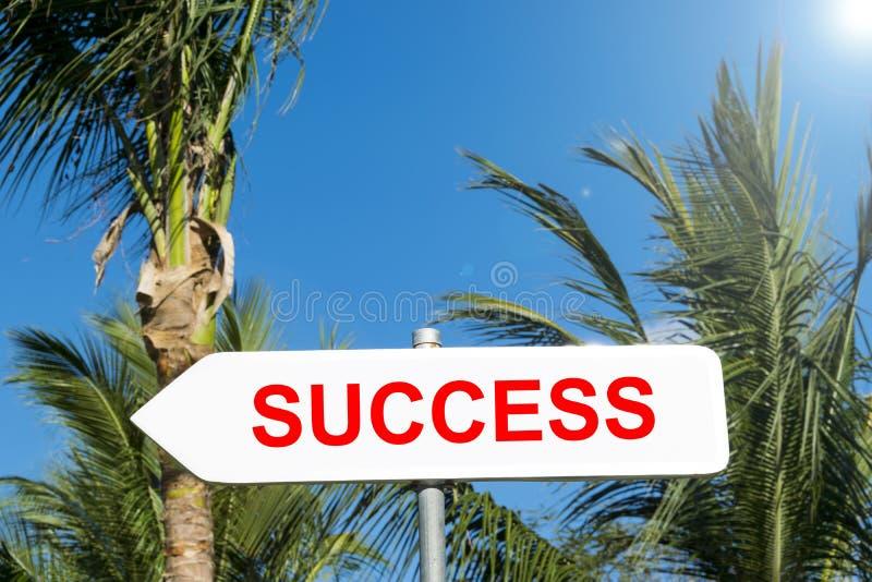 Σημάδι επιτυχίας τροπικό δασικό σε επιτυχή στην έννοια ζωής και επιχειρήσεων μπλε όψη απόχρωσης οδικών σημαδιών γωνίας ευρέως Παρ στοκ εικόνες με δικαίωμα ελεύθερης χρήσης