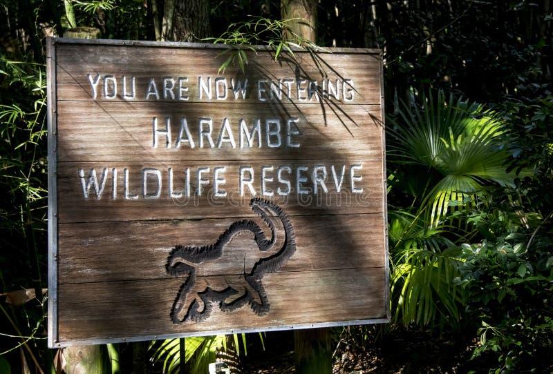 Σημάδι επιφύλαξης άγριας φύσης Harambe στοκ φωτογραφίες