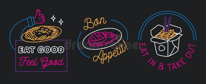 Σημάδι εστιατορίων στο διάνυσμα ύφους γραμμών ελεύθερη απεικόνιση δικαιώματος