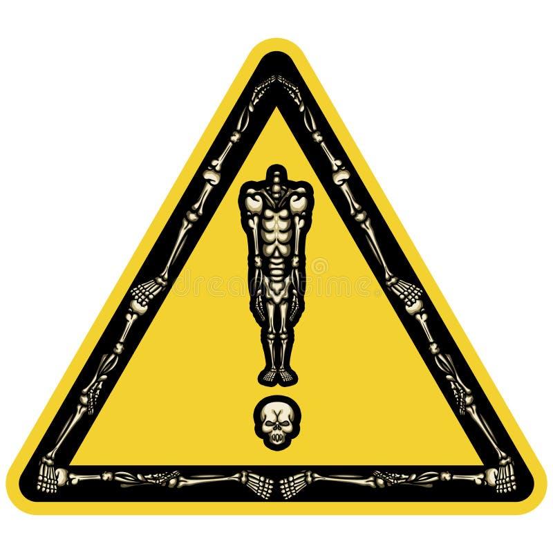 Σημάδι θαυμαστικών σκελετών διανυσματική απεικόνιση