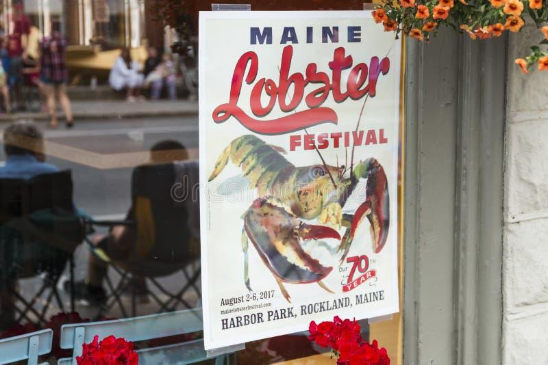 Σημάδι και αντανάκλαση φεστιβάλ αστακών του Μαίην στο παράθυρο στοκ εικόνα με δικαίωμα ελεύθερης χρήσης