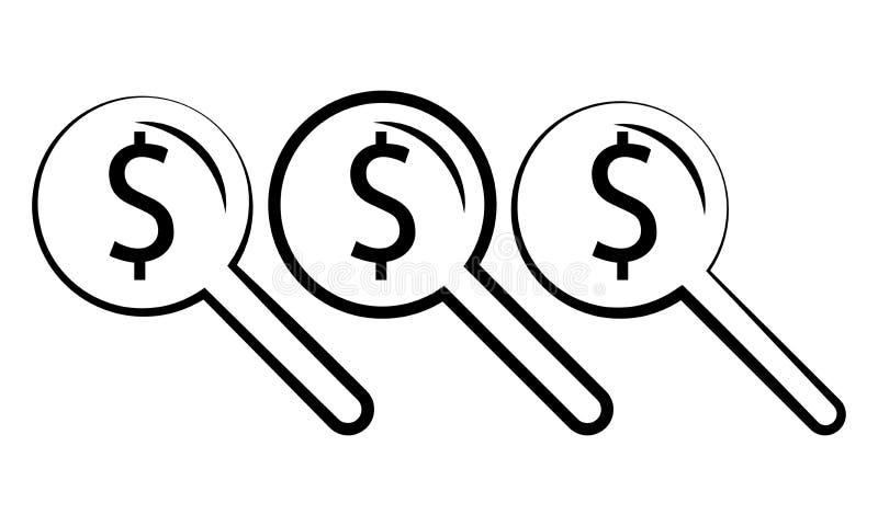 Σημάδι και ενίσχυση δολαρίων - γυαλί - που ψάχνει για το εικονίδιο δολαρίων χρημάτων ελεύθερη απεικόνιση δικαιώματος