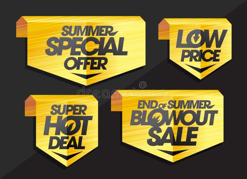 Σημάδι και κορδέλλες καθορισμένα - καλοκαίρι ειδική προσφορά, χαμηλή τιμή, έξοχη καυτή διαπραγμάτευση, τέλος της πώλησης θερινών  απεικόνιση αποθεμάτων