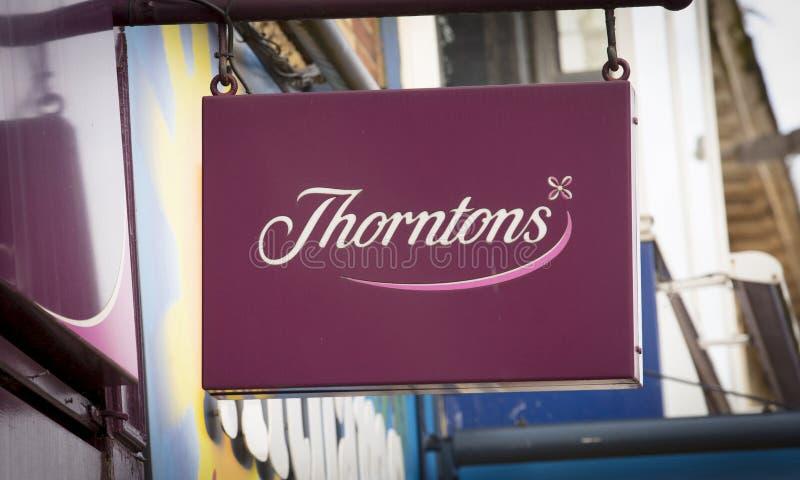 Σημάδι καταστημάτων για τις σοκολάτες Thorntons - Scunthorpe, Λινκολνσάιρ, Ηνωμένο Βασίλειο - 23 Ιανουαρίου 2018 στοκ φωτογραφία