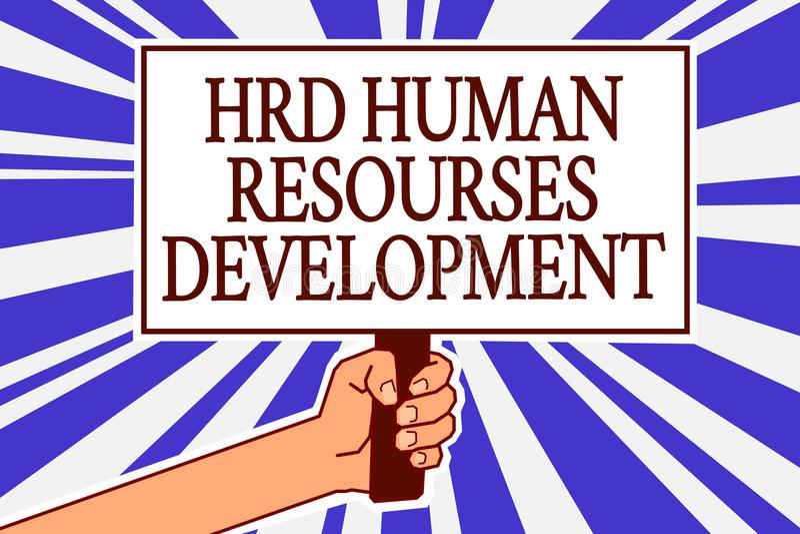 Σημάδι κειμένων που παρουσιάζει ανάπτυξη ανθρώπινων δυναμικών HRD Εννοιολογική φωτογραφία που βοηθά τους υπαλλήλους να αναπτύξουν απεικόνιση αποθεμάτων