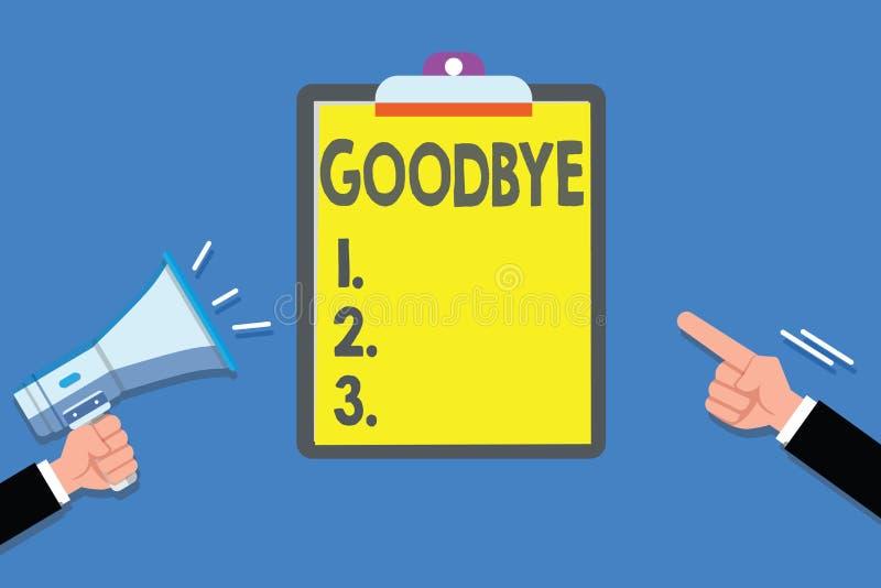 Σημάδι κειμένων που παρουσιάζει αντίο Ο εννοιολογικός χαιρετισμός φωτογραφιών για την αναχώρηση αποχαιρετιστήριος σας βλέπει σύντ ελεύθερη απεικόνιση δικαιώματος