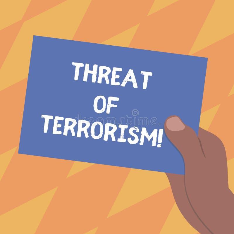 Σημάδι κειμένων που παρουσιάζει απειλή της τρομοκρατίας Εννοιολογικοί βία και εκφοβισμός χρήσης φωτογραφιών παράνομοι ενάντια στο διανυσματική απεικόνιση