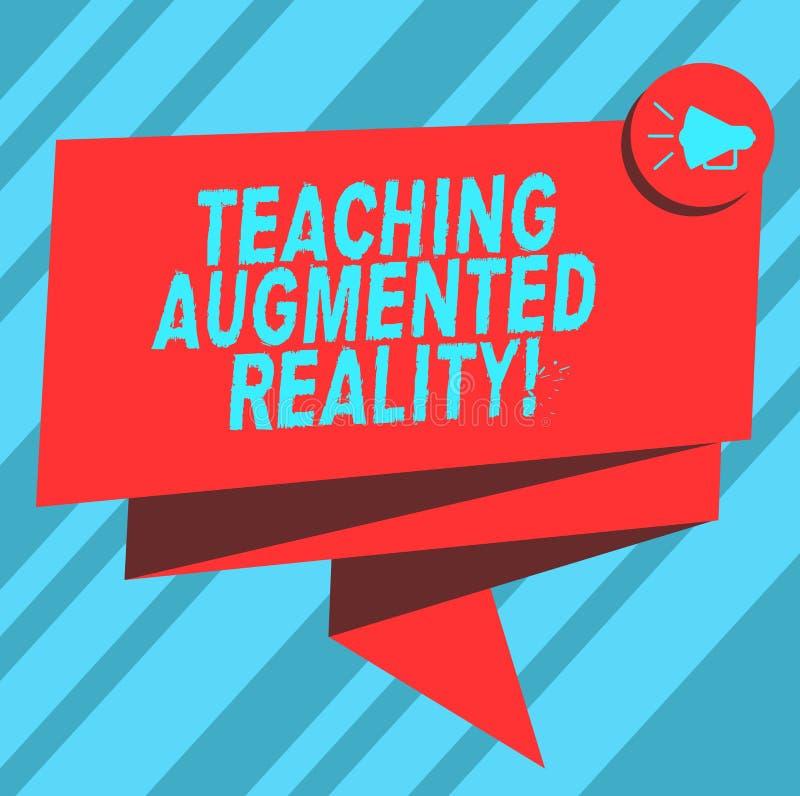 Σημάδι κειμένων που παρουσιάζει αυξημένη διδασκαλία πραγματικότητα Η εννοιολογική φωτογραφία η χρήση του AR apps άμεσα στην τάξη  διανυσματική απεικόνιση