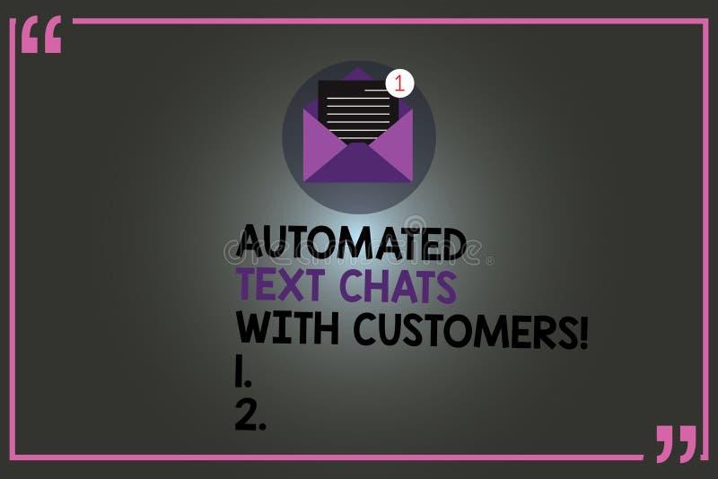 Σημάδι κειμένων που παρουσιάζει αυτοματοποιημένες συνομιλίες κειμένων με τους πελάτες Εννοιολογικός ανοικτός φάκελος συνομιλίας B διανυσματική απεικόνιση