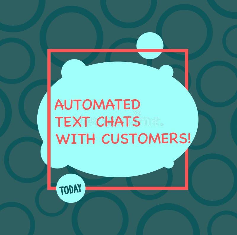 Σημάδι κειμένων που παρουσιάζει αυτοματοποιημένες συνομιλίες κειμένων με τους πελάτες Εννοιολογική συνομιλία BOT τεχνητής νοημοσύ απεικόνιση αποθεμάτων