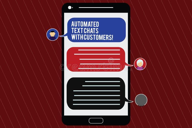 Σημάδι κειμένων που παρουσιάζει αυτοματοποιημένες συνομιλίες κειμένων με τους πελάτες Εννοιολογική συνομιλία BOT τεχνητής νοημοσύ διανυσματική απεικόνιση