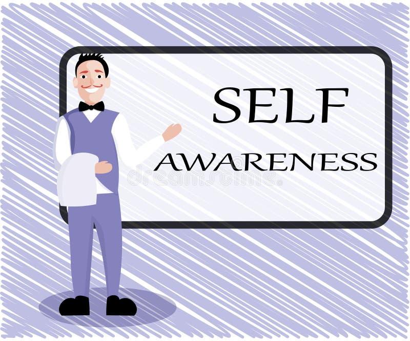Σημάδι κειμένων που παρουσιάζει αυτοσεινηδητοποίηση Εννοιολογική συνείδηση φωτογραφιών ενός προσώπου προς μια κατάσταση ή να συμβ ελεύθερη απεικόνιση δικαιώματος
