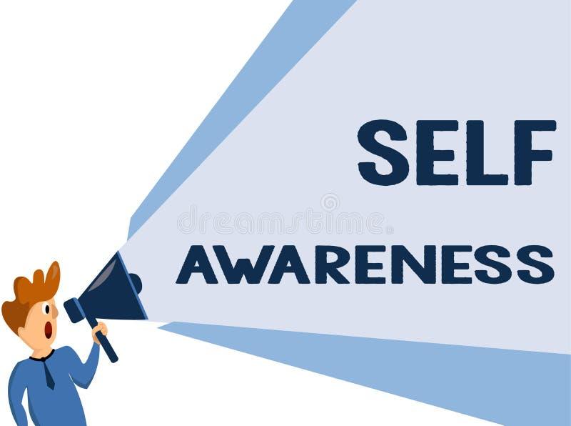 Σημάδι κειμένων που παρουσιάζει αυτοσεινηδητοποίηση Εννοιολογική συνείδηση φωτογραφιών ενός προσώπου προς μια κατάσταση ή να συμβ απεικόνιση αποθεμάτων