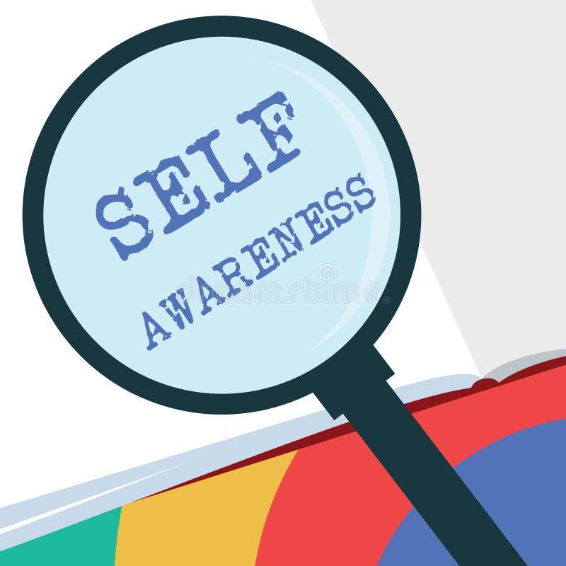 Σημάδι κειμένων που παρουσιάζει αυτοσεινηδητοποίηση Εννοιολογική συνείδηση φωτογραφιών ενός προσώπου προς μια κατάσταση ή να συμβ διανυσματική απεικόνιση