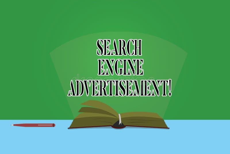 Σημάδι κειμένων που παρουσιάζει διαφήμιση μηχανών αναζήτησης Εννοιολογική φωτογραφία που τοποθετεί τις σε απευθείας σύνδεση διαφη στοκ εικόνα