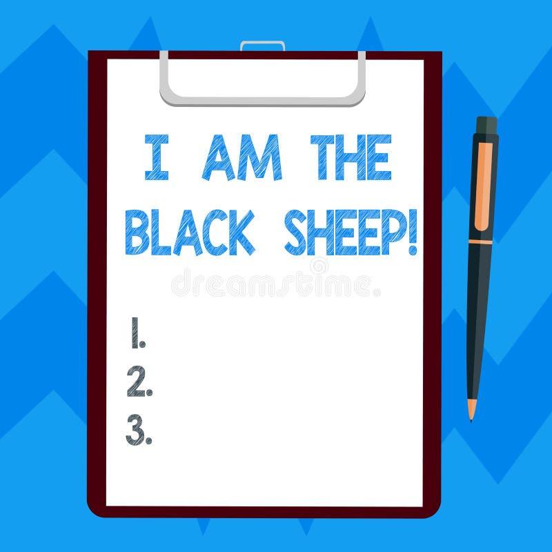Σημάδι κειμένων που παρουσιάζει είμαι τα μαύρα πρόβατα Εννοιολογική φωτογραφία διαφορετική από άλλους αρχικός μοναδικός σε ένα κε διανυσματική απεικόνιση