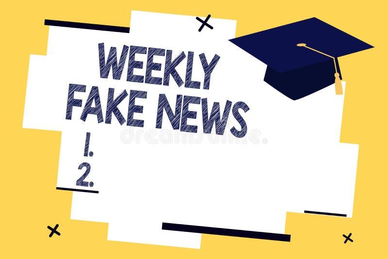 Σημάδι κειμένων που παρουσιάζει εβδομαδιαίες πλαστές ειδήσεις Εννοιολογική ανακριβής, sensationalistic έκθεση φωτογραφιών που δημ απεικόνιση αποθεμάτων