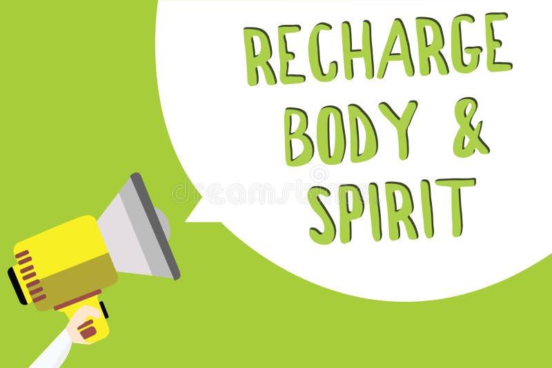 Σημάδι κειμένων που παρουσιάζει επαναφόρτιση BodyandSpirit Η εννοιολογική φωτογραφία γεμίζει την ενέργειά σας μέσω της χαλάρωσης  απεικόνιση αποθεμάτων