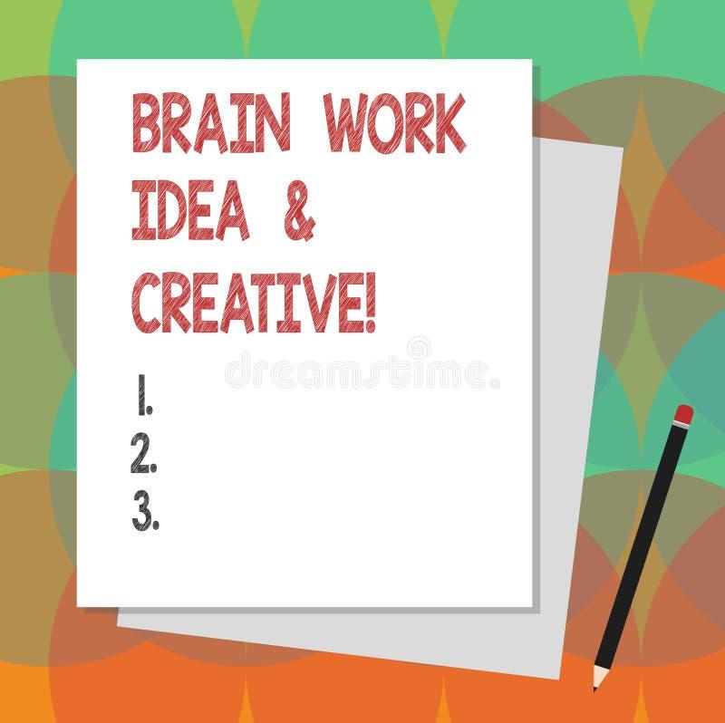 Σημάδι κειμένων που παρουσιάζει ιδέα εργασίας εγκεφάλου και δημιουργικός Εννοιολογικός φωτογραφιών δημιουργικότητας σωρός σκέψης  ελεύθερη απεικόνιση δικαιώματος