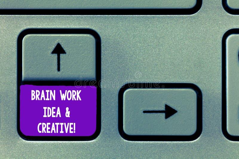 Σημάδι κειμένων που παρουσιάζει ιδέα εργασίας εγκεφάλου και δημιουργικός Εννοιολογικό φωτογραφιών δημιουργικότητας κλειδί πληκτρο στοκ εικόνες
