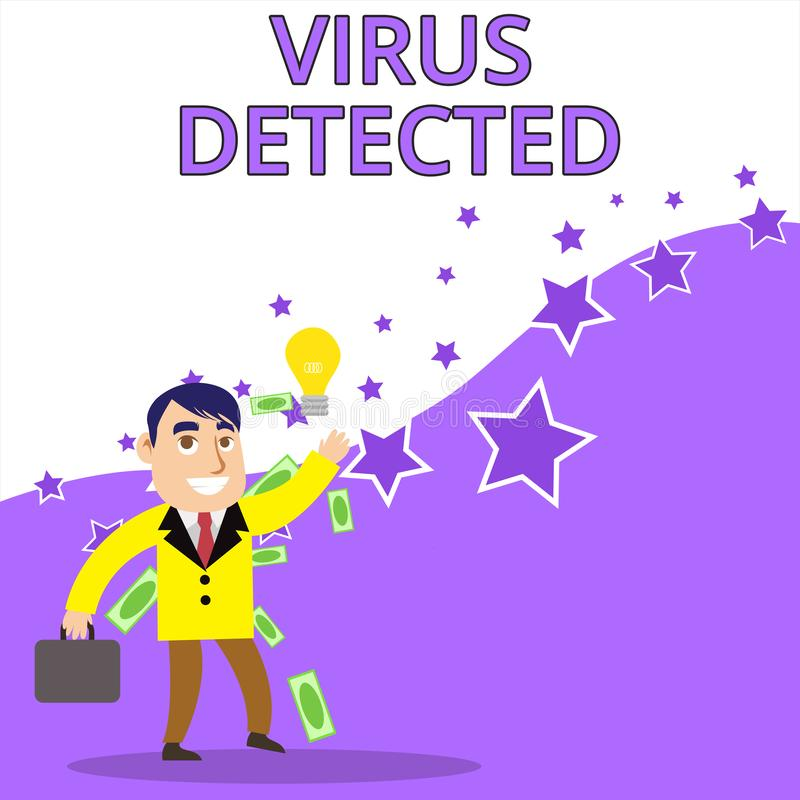 Σημάδι κειμένων που παρουσιάζει ιό που ανιχνεύεται Εννοιολογικό πρόγραμμα υπολογιστών φωτογραφιών Α που χρησιμοποιείται για να απ απεικόνιση αποθεμάτων