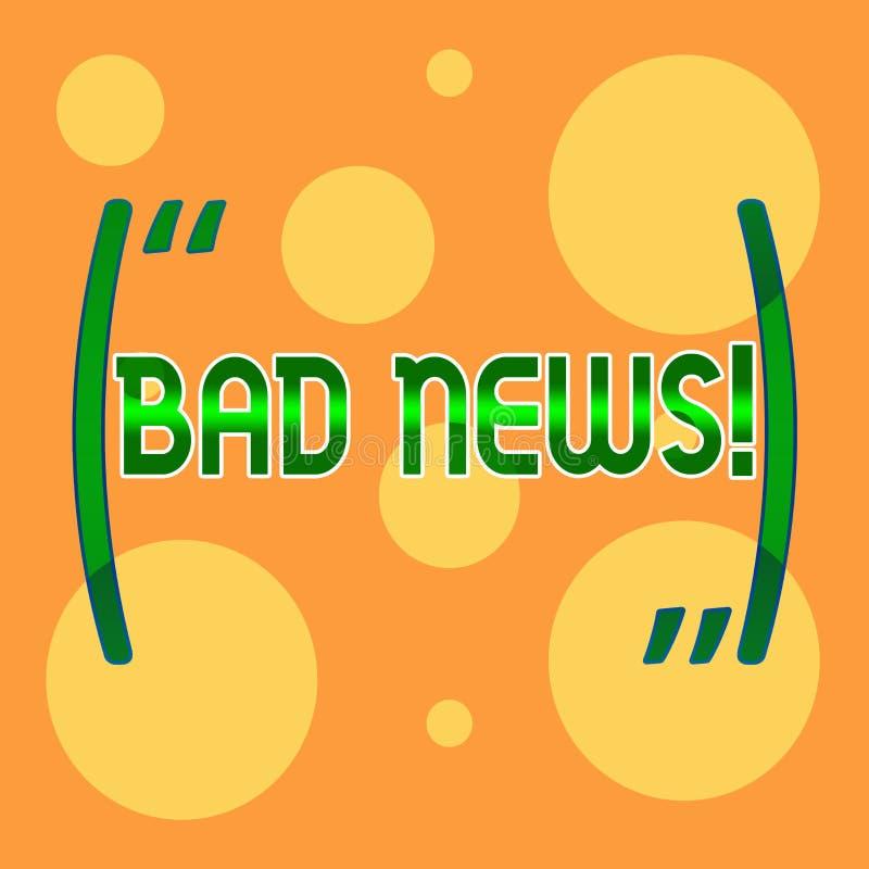 Σημάδι κειμένων που παρουσιάζει κακές ειδήσεις Το εννοιολογικό πρόβλημα πράγματος ή επίδειξης φωτογραφιών ανεπιθύμητο hust συνέβη απεικόνιση αποθεμάτων