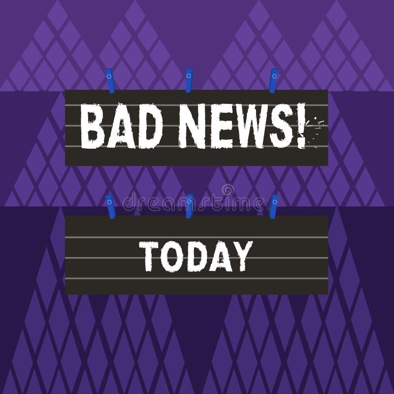 Σημάδι κειμένων που παρουσιάζει κακές ειδήσεις Το εννοιολογικό πρόβλημα πράγματος ή επίδειξης φωτογραφιών ανεπιθύμητο hust συνέβη διανυσματική απεικόνιση