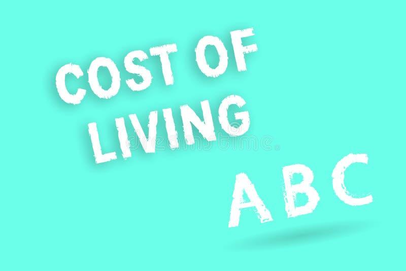 Σημάδι κειμένων που παρουσιάζει κόστος ζωής Εννοιολογική φωτογραφία το επίπεδο τιμών σχετικά με μια σειρά των καθημερινών στοιχεί ελεύθερη απεικόνιση δικαιώματος