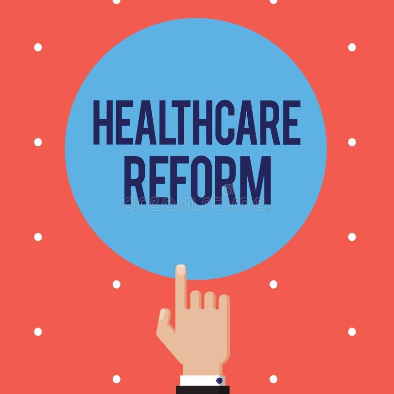 Σημάδι κειμένων που παρουσιάζει μεταρρύθμιση υγειονομικής περίθαλψης Εννοιολογικές καινοτομία και βελτίωση φωτογραφιών στην ποιότ ελεύθερη απεικόνιση δικαιώματος